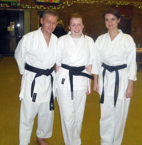 Sensei Gary and Louise with new black belt Sarah December 2012